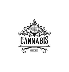 luxury cannabis logo vector image