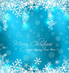 Merry Christmas blue card vector image