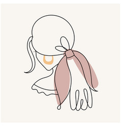 Modern abstract facesilhouette girl with a bow vector