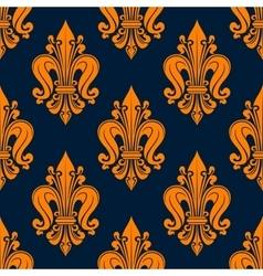 Orange french fleur-de-lis seamless pattern vector image