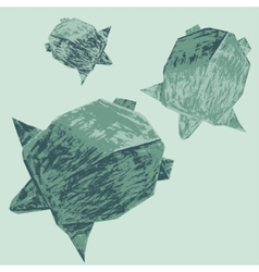 Origami creative turtles drawing vector image