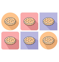 outlined icon of cookie with parallel and not vector image
