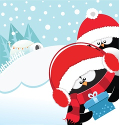 Penguins With Gift vector image
