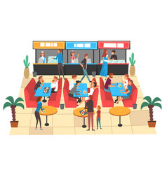 People eating in food court in shopping mall vector