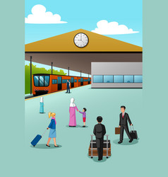 People in train station vector