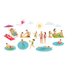 People rest on beach vacation summer concept vector