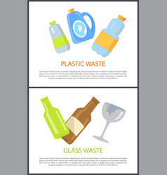 plastic and glass waste set of colorful banners vector image