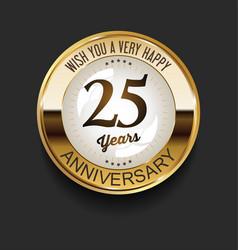 Retro vintage style anniversary golden design 25 vector