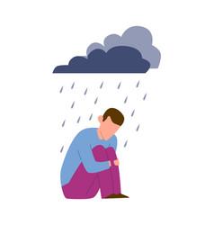 sad mental ill young man depression or vector image