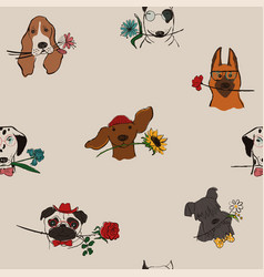 seamless pattern with dogs holding flowers vector image