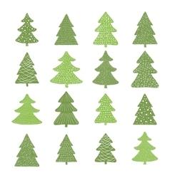 set hand drawn christmas trees vector image