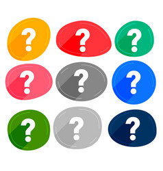 Set many colors question marks symbols vector