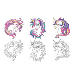 set three cute cartoon unicorns heads vector image