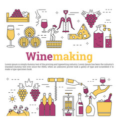 Square web banner - wine making vector