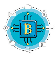 square with circuit connection and bitcoin symbol vector image