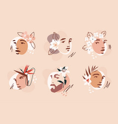 Stencil faces and flowers vector
