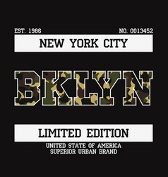 T-shirt with bklyn camouflage vector