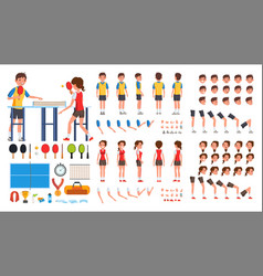 table tennis player male female animated vector image