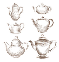 tea kettles set teapots drawn collection coffee vector image