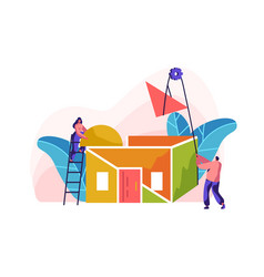 Team builder construction new color home vector