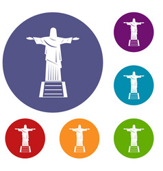 The christ the redeemer statue icons set vector