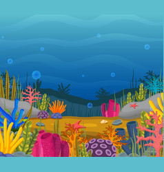 Underwater scene with tropical coral reef vector