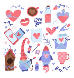 valentine s day elements set love decor vector image