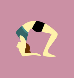 Wheel pose yoga posture vector