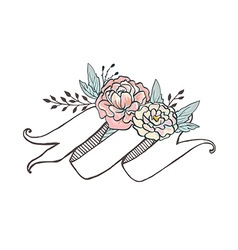 White hand drawn ribbon with peonys and roses vector image