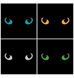 Wild cat eyes on black background set vector image