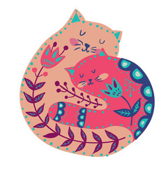 With beautiful cat in pattern and flowers vector
