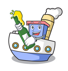 With beer ship mascot cartoon style vector