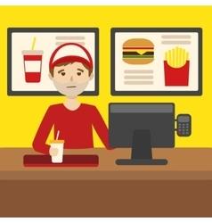 Work at a fast food restaurant cartoon vector image