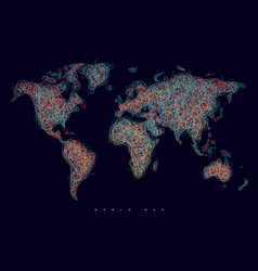 world map tangle lines red dark vector image