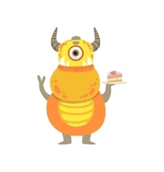 Yellow friendly monster with horns and cake vector