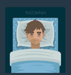 Young man with sleep problem insomnia vector