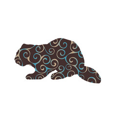 Beaver wildlife color silhouette animal vector