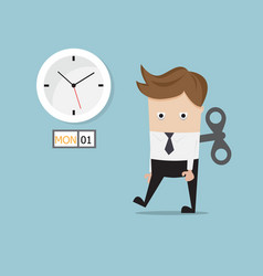 Businessman tired walking with wind up on monday vector