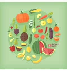 Fruits and vegetables flat icons collection set vector image