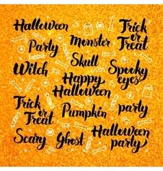 Halloween gold lettering design vector