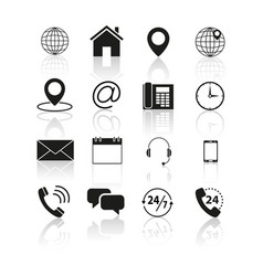 set of contacts us icons vector image vector image