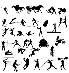 set of sport silhouettes vector image