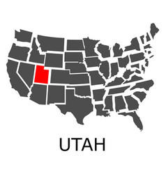 state of utah on map of usa vector image vector image
