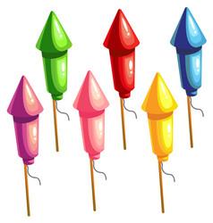 a set of color rockets for fireworks vector image