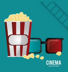 cinema 3d glasses pop corn and filmstrip vector image vector image