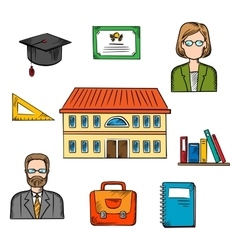 School and education colorful objects vector image