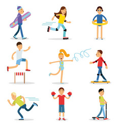 teenagers children playing sports set children vector image vector image