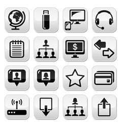 Web internet simple black buttons set vector image vector image