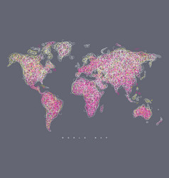 World map tangle lines magenta vector