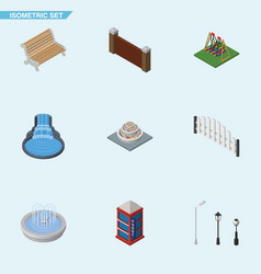 isometric architecture set of barricade plants vector image vector image